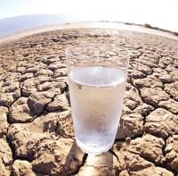desierto y vaso de agua