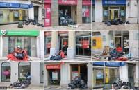 Basura delante de los bancos en Lisboa