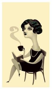 Café y lectura. Ilustración Ana Varela