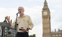 Jeremy Corbyn speaking at an anti-war event last year.