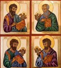 evaneglistas  Mateo, Marcos, Lucas y Juan.